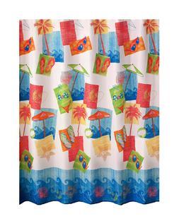 Fabric Shower Curtain Bathroom Beach Theme Palm Trees Ocean