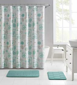 VCNY Fabric Shower Curtain Bathroom: Pastel Aqua and Peach O