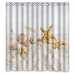 Prime Leader Fabric Shower Curtain Beach Shell Starfish Desi