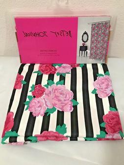 Betsey Johnson Fabric Shower Curtain  Black&White Stripes wi