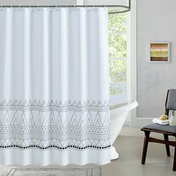 Fabric Shower Curtain Boho Striped Chevron Mold & Mildew Res