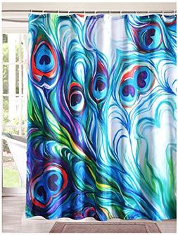 LanMeng Fabric Shower Curtain, Flawless Peacock Feathers Wat