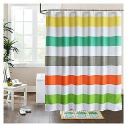 LanMeng Fabric Shower Curtain Colorful Rainbow Cross Stripe,