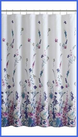 Fabric Shower Curtain Elegant Floral Design WHITE FREE SHIPP