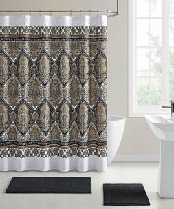 VCNY Fabric Shower Curtain Floral Damask with Geometric Bord