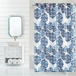 Fabric Shower Curtain for Bathroom Navy Blue White Taupe w/