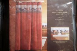 """Fabric Shower Curtain Horse Theme """"The Great Out Doors"""""""