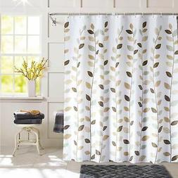 "Fabric Shower Curtain, Leaves, White, 72""x72"" or 72""x78"""