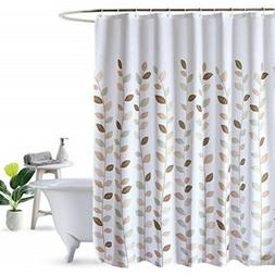 LanMeng Fabric Shower Curtain, Leaves, White, Elegance Luxur