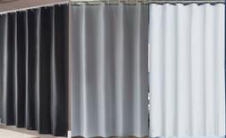 Fabric Shower Curtain Liner Mildew Resistant White Gray Blac