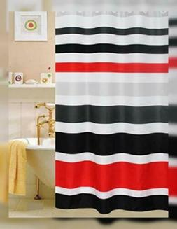 Fabric Shower Curtain,multi-color Striped Black /Red, 71x 72