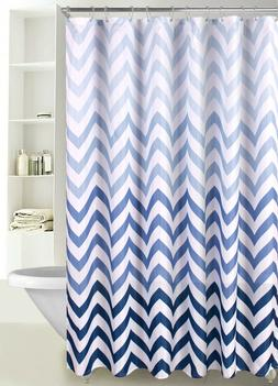 Fabric Shower Curtain Ombre Zig Zag Chevron Print with Reinf