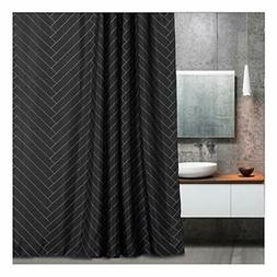 Aimjerry Fabric Shower Curtain Polyester Striped Black ,Geom