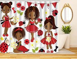 ArtRena Fabric Shower Curtain, Dark-Skinned, Black Girls wit