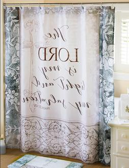 Fabric Shower Curtain Religious Inspirational Message Bathro