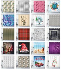 Fabric Shower Curtain Set for Bathroom Decor with 12 Hooks I