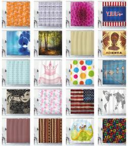 Fabric Shower Curtain Set with Hooks Waterproof Digital Prin
