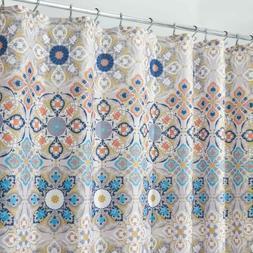 Fabric Shower Curtain Tan Blue Medallion Geometric Bohemian
