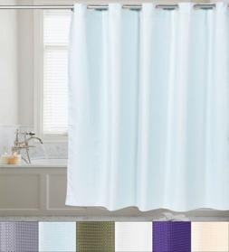 Fabric Shower Curtain Waffle Weave Hookless With Snap Off Li