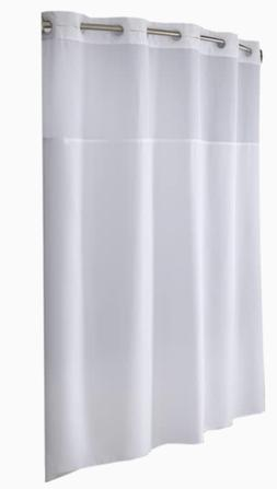 """Hookless Fabric Shower Curtain White 71x77"""" Sheer Voile Wind"""