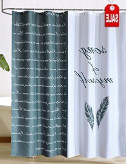 CHAYOTE HOME Fabric Shower Curtain White Black, Waterproof M