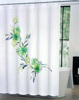 Tahari Home Fabric Shower Curtain White Floral Green/Blue Ma