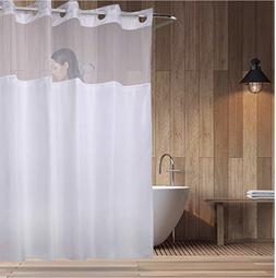 """Hookless Fabric Shower Curtain With Sheer Voile Window 71"""" x"""