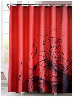 LanMeng Fabric Shower Curtain, Abstract Plant / Floral, Red