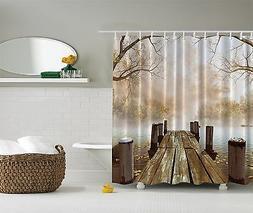 Fall Wooden Bridge Tree Shower Curtain Extra Long 84 Inch