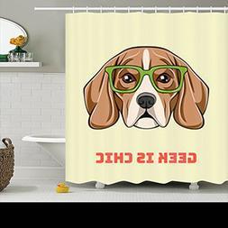Family Decorative Shower Curtains Cute Nerdy Beagle Dog Geek