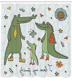 Family Pattern Shower Curtain Fabric Decor Set with Hooks 4
