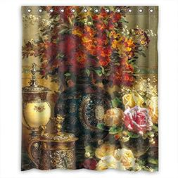Famous Classic Art Painting Flowers Blossoms Polyester Showe