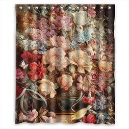 Famous Classic Art Painting Flowers Blossoms Shower Drape Po