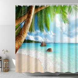 Fantastic Custom Tropical Beach Palm Trees Bathroom Shower Curtain 72x72 Inches