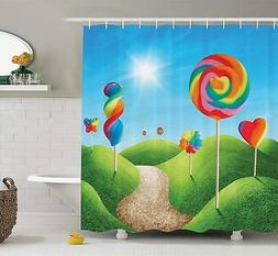 Ambesonne Fantasy Candy Land Shower Curtain with Delicious L