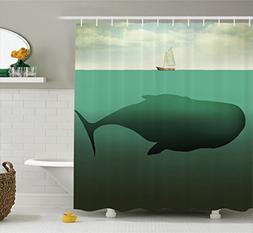Ambesonne Fantasy House Decor Shower Curtain Set, Surreal Gi