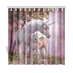 InterestPrint Fantasy Landscape Home Bath Decor, Unicorn Pol
