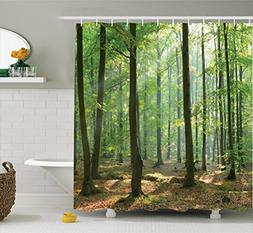 Ambesonne Farm House Decor Collection, Morning In The Forest