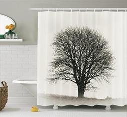 Ambesonne Farm House Decor Shower Curtain Set, Photo of A Bi