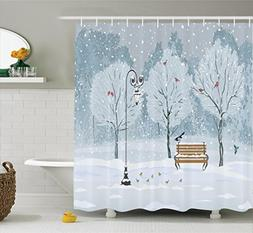 Ambesonne Farm House Decor Shower Curtain Set, Snow Falling