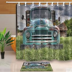 KOTOM Farm House Decor, Wooden Barn with Rusic Truck in Fore