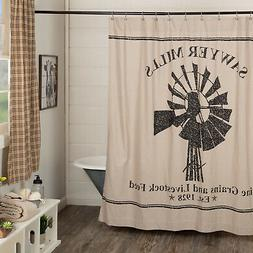Ashton & Willow Farmhouse Bath-Sawyer Mill Tan Shower Curtai