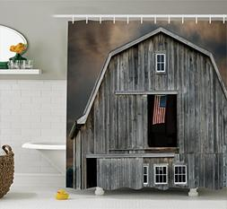 Ambesonne Farmhouse Decor Collection, American Flag Flying i