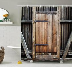 ToHa Farmhouse Shower Curtain With Hooks, Fence Rustic Woode