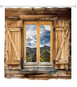 Goodbath Farmhouse Shower Curtain, Old Wooden Barn Door Wind