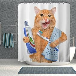 Colorful Star Fat cat brushing teeth Design Shower Curtain,W
