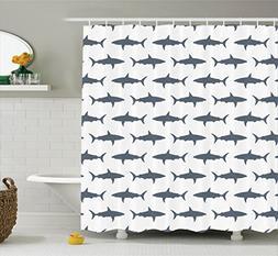 Ambesonne Fish Shower Curtain Set Sea Animals Decor, Sharks