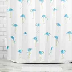 mDesign Flamingo Print - Easy Care Fabric Shower Curtain - 7