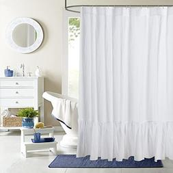 Pure Flax Linen Shower Curtain With Pleated Bottom, in white