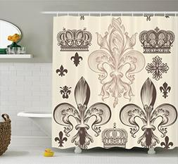 Ambesonne Fleur De Lis Decor Collection, Heraldic Pattern wi